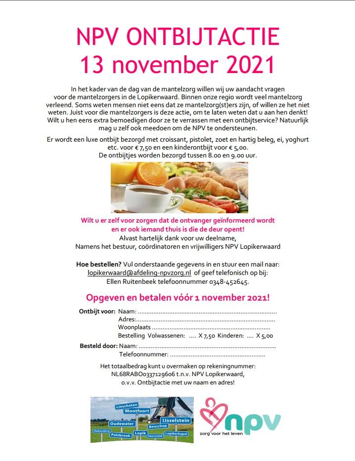 NPV ONTBIJTACTIE 13 november 2021